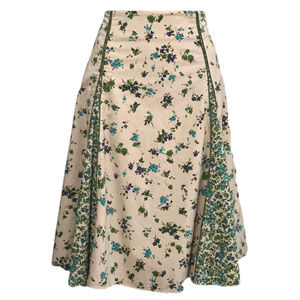 LAURA ASHLEY Full Skirt Cotton Beige Floral 8